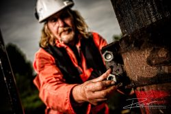 Industriële fotografie bagger werkzaamheden op de IJssel