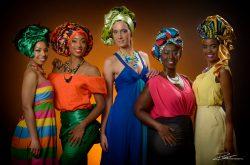 Groepsportret-afrikaanse hoofddoeken in studio