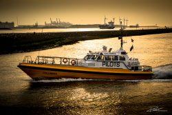 Loodsboot bij landtong Rozenburg bij ondergaande zon in Port of Rotterdam