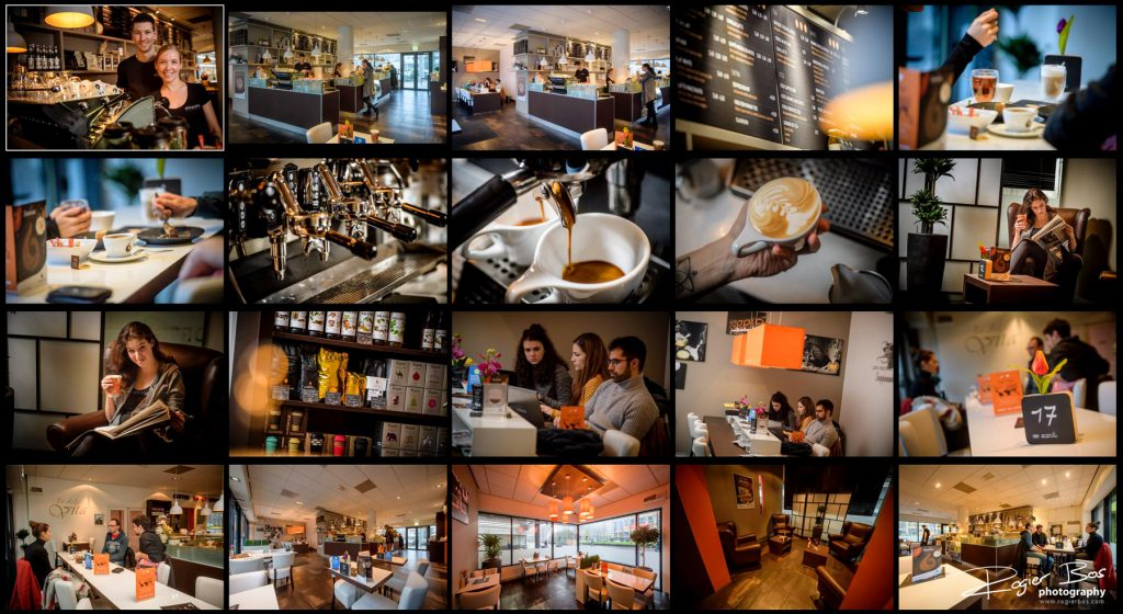 Overzicht van foto's in een koffietentje