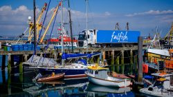 Falfish truck on the pier in Falmouth Cornwall