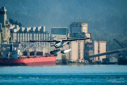 Seaplane landing in port of Vancouver
