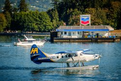 Vancouver Harbour air witj Chevron gas station