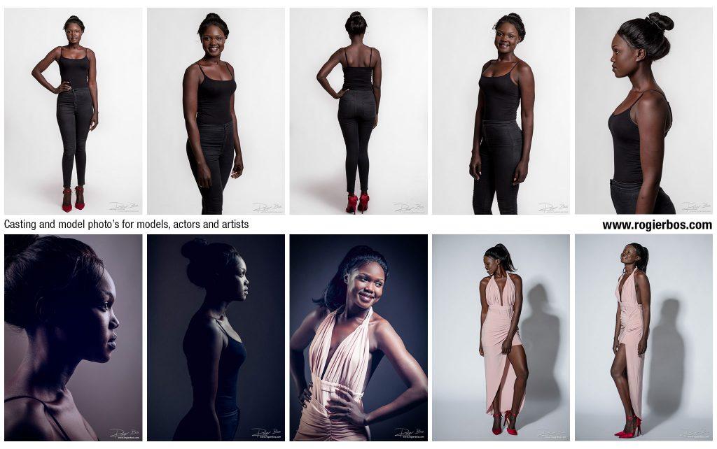 Overzicht van casting foto's die ik in mijn studio maakte voor dit mooie donkere model ter ondersteuning van haar modelcarriëre.