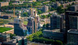 Haven fotograaf - Luchtfotografie Torenkranen bij bouwproject Amsterdam Zuidas