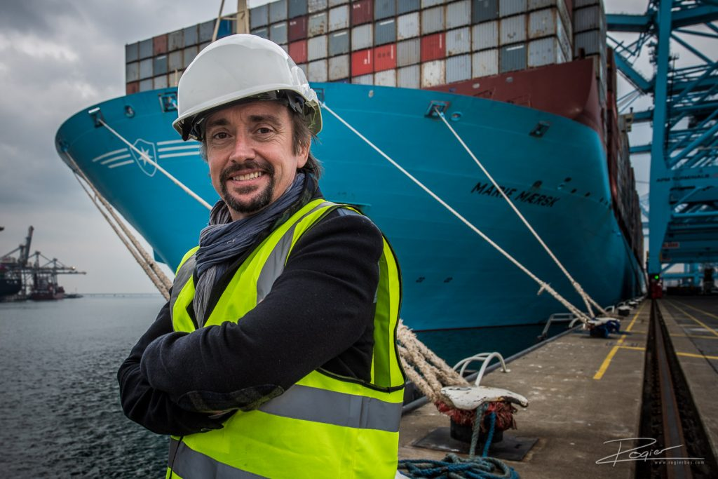 Richard Hammond BIG - Discovery TV Show. RIchard posing in front of the Marie Maersk, the biggest container ship in the world.