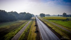 Dronefotograaf - foto van een provinciale weg in aanleg