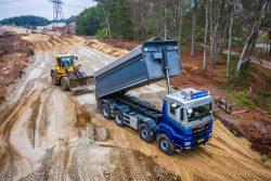 Dronefotografie van wegenbouw