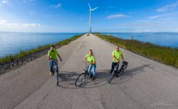 team on bikes from drone