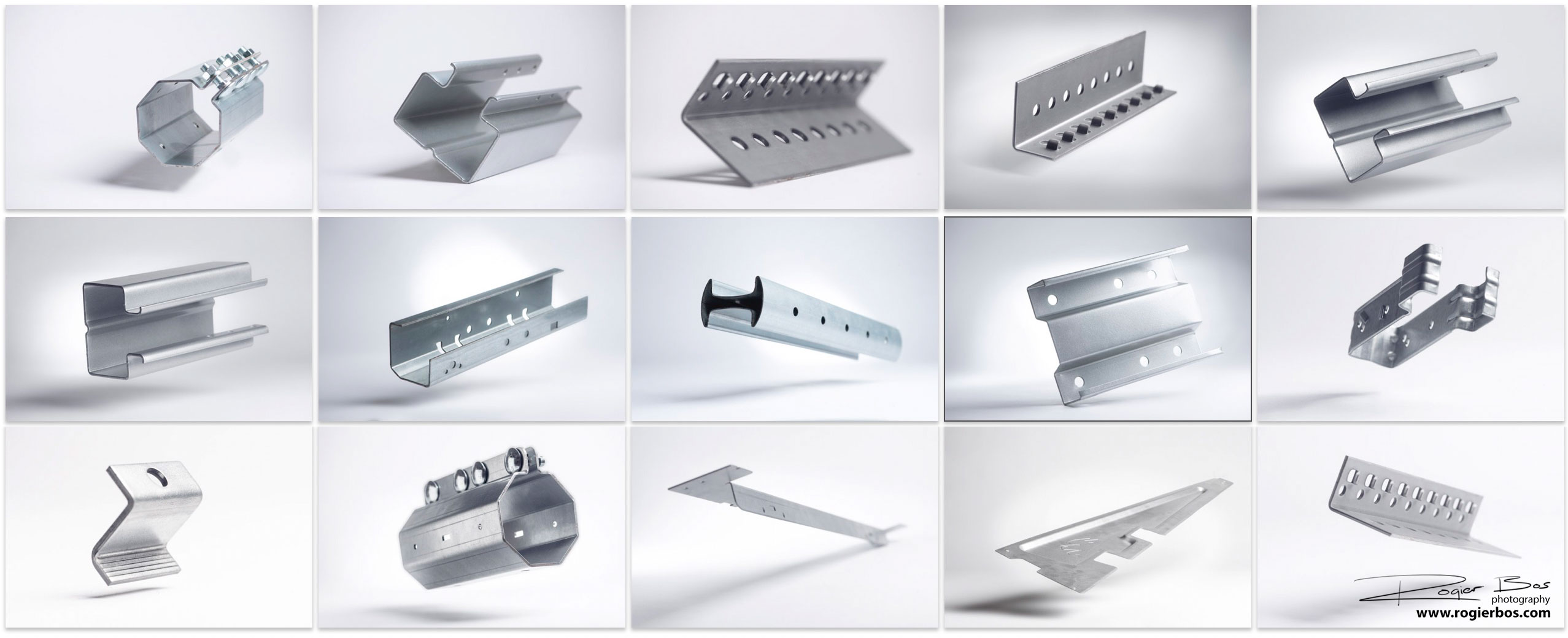 Aluminium producten zwevend op witte achtergrond