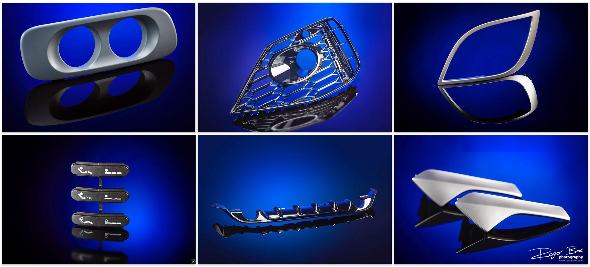 Kunststof onderdelen voor automotive, gefotografeerd op reflecterend blauw.