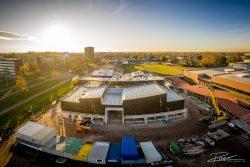 Drone bouwproject Cordeel bij zonsondergang
