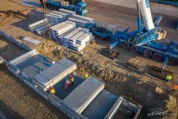 Drone foto bouwproject hijswerkzaamheden
