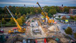 Dronefotografie bij bouwproject tunnelbouw