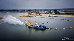 Dronefotografie van zandspuitproject in Limburg