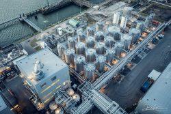 Drone foto van terminal in de Rotterdamse haven